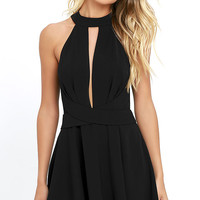 Cross Your Heart Black Skater Dress