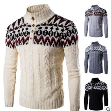 New Fashion Christmas Men Pullover Top Autumn Winter Snowflake Thick Warm Casual Vintage Crocheted Knitted Male Pullover Hombre