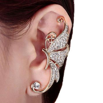 CREYV2S Kingfansion Splendid Cute Crystal Butterfly Wings Ear Clip Clamp Earring Fashion Jewelry for Women(only 1pc) (White)