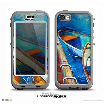The Colorful Pastel Docked Boats Skin for the iPhone 5c nüüd LifeProof Case