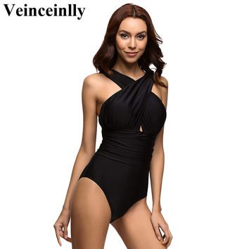 2017 S - 4XL black red plus size swimwear women halter 1 one piece swimsuit scalloped bathing suit bather maillot de bain V109