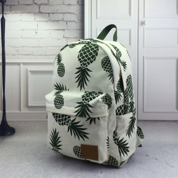 Women's Blue Pineapple Pattern Print Canvas Backpack School Bookbag