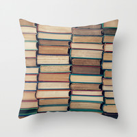 Bookworm Throw Pillow by Laura Ruth