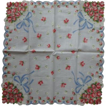 Square Vintage Handkerchief Pink Roses Blue Bows white background