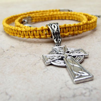 Mustard Yellow Macrame Necklace:  Silver Celtic Cross Hemp Cord Men's Unisex Jewelry, Graduation Gift