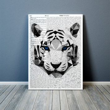 Wall art Geometric decor White tiger poster Animal print TOA84-1