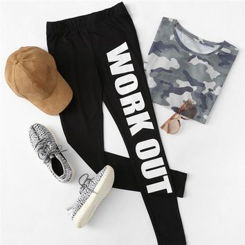Slogan Print Fitted Exercise Leggings Women Black High Waist Sporting Leggings Active Fashion Pants