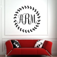 Monogram Wall Decal Personalized Initial Name Decals Vinyl Stickers- Monogram Wall Art Living Room Nursery Bedroom Family Home Decor 0106