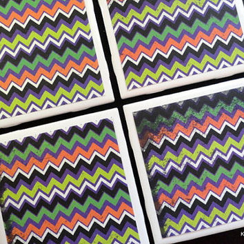 Halloween Coasters, Chevron Coaster, Tile Coasters, Coasters, Tile Coaster, Coaster, Table Coasters, Drink Coasters, Coaster Set of 4