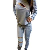 Women Tracksuits Fashion Zipper Hollow Out Hoodies Sweatshirt + Pant 2 Piece Set Long Sleeve Casual Women Sporting Suits S-XL