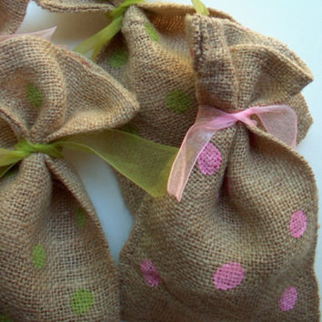 Burlap Bags Dottie Polka Dots Fabric Party Favor Goody Gift Bag Custom Colors Your Choice DIY Wedding Birthday Bridal Shower Set of 6