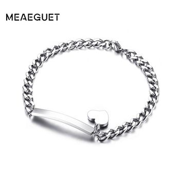 Meaeguet Laser Engrave ID Personalized Name Bracelet For Women Customized Stainless Steel Bangle Jewelry 8mm Wide