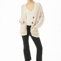 Ribbed Button-Front Cardigan