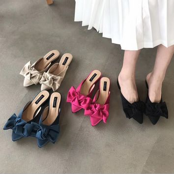Women Fashion Silk Sweetie Bow Pointed Toe Flats Heel Slippers Loafer Mule Shoes