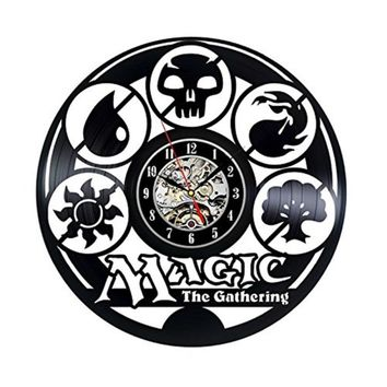 Magic The Gathering Japanese Cartoon Vinyl Record Wall Clock 3D with Vintage Style Handmade  Creative Home Wall Art Decoration