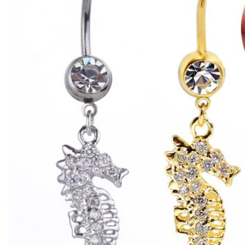 Lovely sea horse zircon belly button ring antiallergic Navel Belly Ring-0428-Gifts box