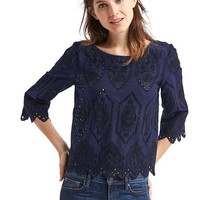 Intricate eyelet three-quarter sleeve top | Gap