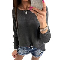 2017 Fashion Womens Autumn Crew Neck Long Sleeve Back Zipper Split Knitted Pullover Casual Loose Sweater Jumper Tops Shirt