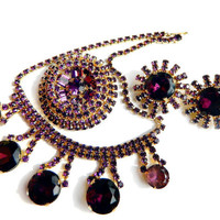 Weiss Juliana Runway Set Necklace Brooch Earrings Purple High Fashion Rhinestone Unsigned Beauty Collectable Jewelry Vintage Runway Set