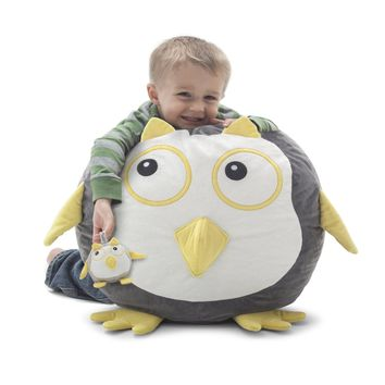 Omar The Owl Beanimal Bean Bag Chair & Plush Pet SET