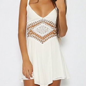 White Spaghetti Strap Cut Out Romper