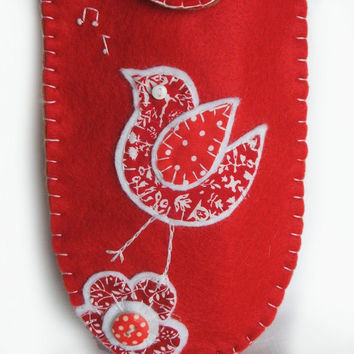 Felt Glasses Case with Hand Appliqued Red and White Singing Songbird with Musical Notes and Fabric Flower