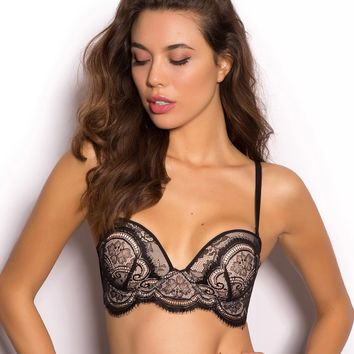 Victoria Blush Plunge Push Up Bra - Black - New