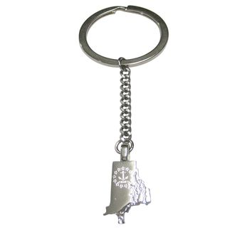 Rhode Island State Map Shape and Flag Design Pendant Keychain