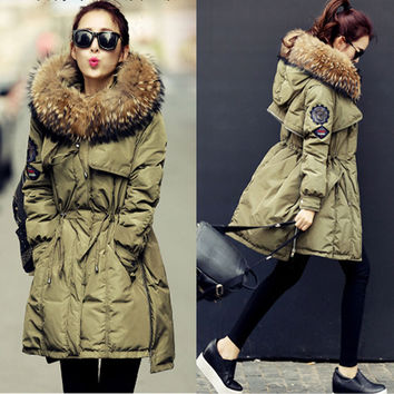 2016 New Arrival Winter Down Coat Thick Outwear Warm Jacket Overcoat 100% Real Raccoon Fur Trim Hood Clothing