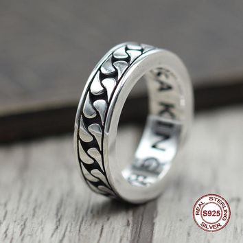 s925 sterling silver men ring Simple and elegant Retro Cloth Closed Couple Ring Classic style Send a gift to love Weave