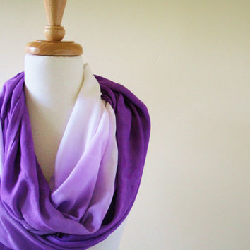 Infinity Scarf Purple and White Ombre, Lavendar, Modern, Lightweight, Summer Scarf, Spring, Mom, High Fashion
