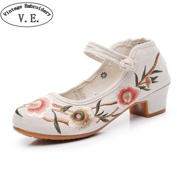 Vintage Embroidery Women Pumps Ladies Jacquard Fabric Block Heel Shoes Instep Strap Retro Casual  Pump Shoes Cheongsam Matched