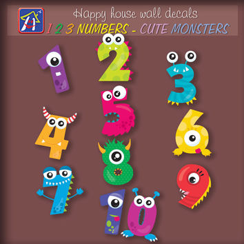 123  numbers Cute Monsters  wall decals - 123 numbers decals - Cute Monsters  stickers - Kids room decor - Bedroom Nursery Playroom Decor