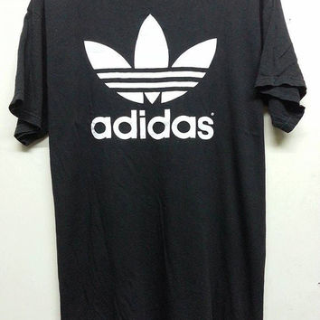 sale Vintage 1990s Adidas Trefoil Double Side Picture Style Hip Hop Run Dmc Character T Shirt