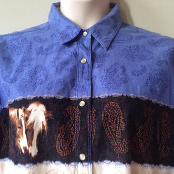XL Vintage Purple Shirt Horse Lover's Wrangler Button up Rodeo Vintage Top Paisley Pony Print Plus Size Women