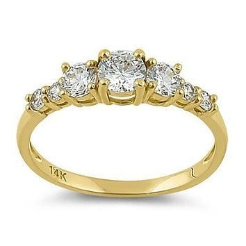 14K Yellow Gold 1.99TCW Russian Lab Diamond Anniversary Ring