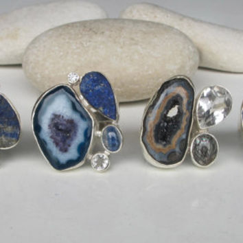 Lapis Ring- Topaz Ring- Quartz Ring- Chunky Stone Ring- Gemstone Ring- Gifts for Her- Rings for Her- Druzy Ring- Rough Ring- Unique Gemstone