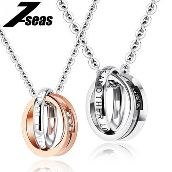 Romantic Love One Another Couple Necklaces For Lovers Full Stainless Steel Promise Love Women Men Couple Jewelry,JM1063X