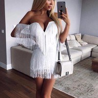 Rebekka Off Shoulder Tassel Dress
