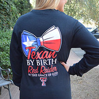 Texas Pride Bow Black Long Sleeve Tee
