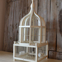Vintage Shabby Chic White Wooden and Wire Bird Cage
