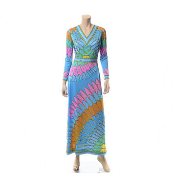 Vintage 70s Mod Aremis Maxi Dress 1970s Designer 60s Carnaby Street Psychedelic Signed Floral Print Boho Cocktail Party Dress