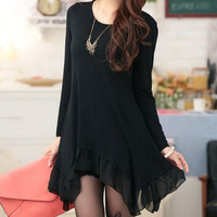 Black Long Sleeve Chiffon Ruffled Dress