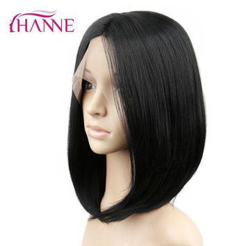 DCCKH0D HANNE Synthetic Lace front Wig With Combs Natural Black Heat Resistant Straight Hair short Bob wigs For African American Women
