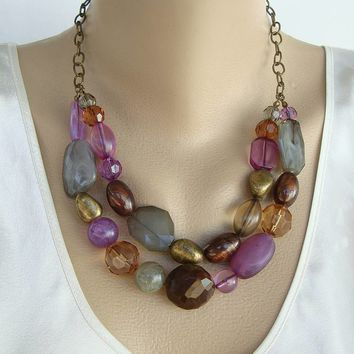 Faux Gemstone Swag Necklace Topaz Amethyst Aventurine Faceted Jewelry