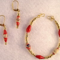 BRBFL04 Bracelet and Earrings are made with Handmade Paper Beads