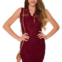 Arietty Lace Dress - Burgundy