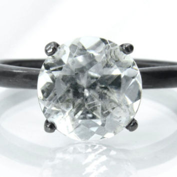Ice Crystal Solitaire Ring with Blackened Patina, Diamond Alternative Engagement Ring, April Birthstone