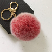 New! Frosted red Fur pom pom keychain fur ball bag pendant charm