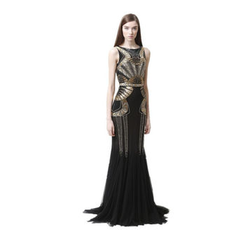 1920s Great Gatsby Dress Embroidery Long Grecian Dress Party Evening Elegant 2015 Robes Femmes Soiree For Women Glamorous Gowns